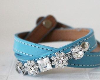 Crystal Flower Embellished Leather Bracelet(Sky Blue)