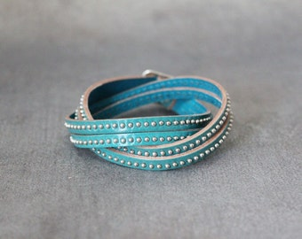 Stitched Leather String Bracelet (Sky Blue)