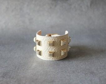 Square Stud Ornament Soft Leather Bracelet(Cream)