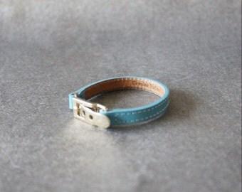 Belt Buckle Ornament Leather Bracelet(Sky blue)
