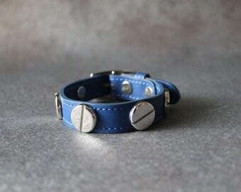 French Stud Leather Bracelet-Medium Size (Blue)