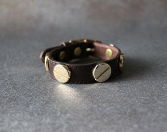 French Stud Leather Bracelet-Medium Size (Dark Brown)