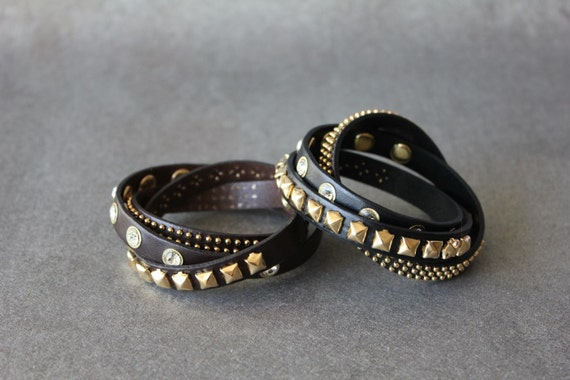 Rhinestone Stud Leather Bracelet(2 Colors)