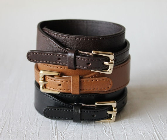 Belt Buckle Closure Leather Bracelet Minimal Style(3 colors)