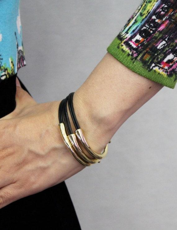 Deep Gold Plated Leather Bracelet(Set of 3, BLACK)
