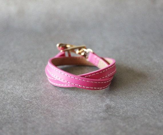 Double Wrap Belt Buckle Ornament Leather Bracelet(Hot Pink)