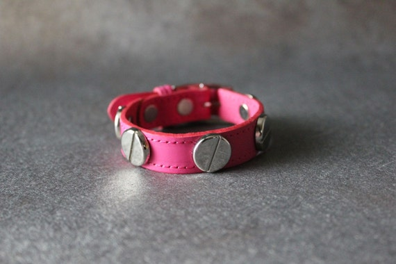 French Stud Leather Bracelet-Medium Size (pink)