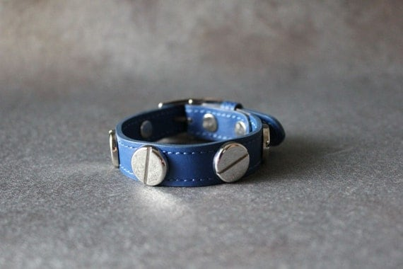 French Stud Leather Bracelet-Medium Size (Blue)