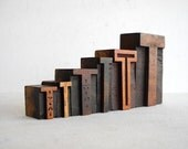 FREE SHIPPING - Vintage Letterpress 6 Wooden Alphabet -T Collection -LB42