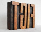"""FREE Shipping - TGIF, Thank God It's Friday - Vintage Letterpress Wooden Alphabet  Collection - Large - 3.2"""", LP06"""
