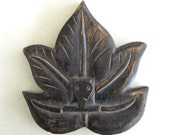 Vintage Hand Crafted Wooden Leaf with Engraved Design and Metal Hook