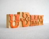 U & ME - 4 Designer Letterpress Wooden Letters -VB19