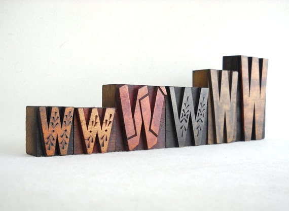 Vintage Letterpress 6 Wooden Alphabet  W -VM09