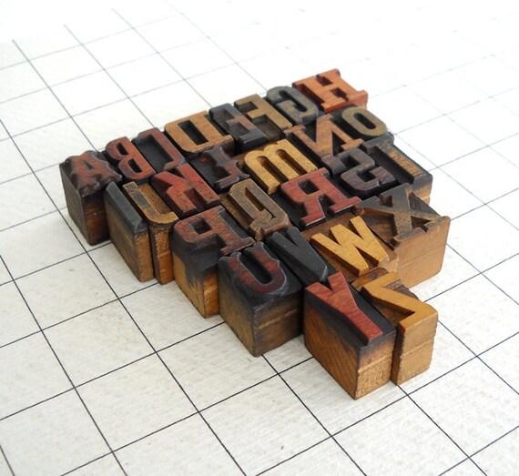 FREE SHIPPING - A to Z - 26 Vintage Letterpress Wooden Alphabets- VB09