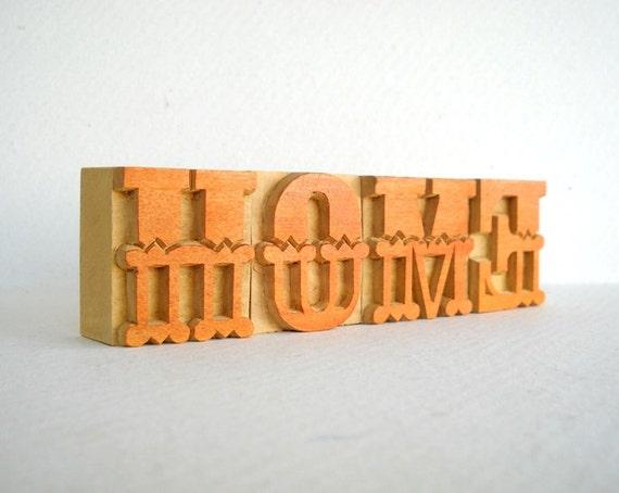 HOME - 4 Designer Letterpress Wooden Letters -VB17