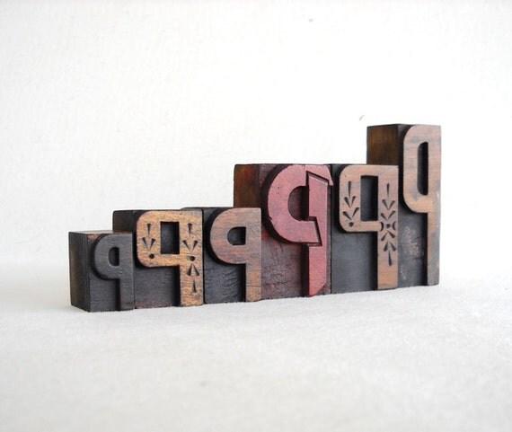 Vintage Letterpress 6 Wooden Alphabet -P Collection -VB34
