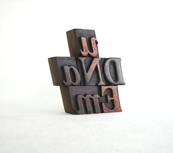 U AND ME, 6 Vintage Italic Letterpress Wooden Alphabet  Collection - VB36