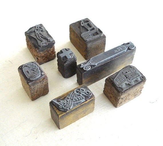 7 Vintage Letterpress Printing Picture Blocks YZ13