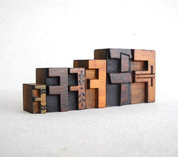 Vintage Letterpress 6 Wooden Alphabet  F -VB38