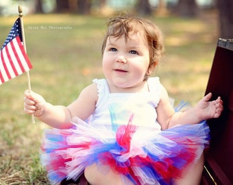 4th of July Baby Girl Tutu Outfit with Flower Headband