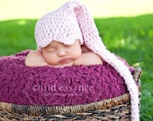 Pixie Hat Sized 3 to 6 Months With Long Tail in Super Soft Eco Friendly Pretty Pink Bamboo Yarn