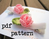 PDF Crochet Pattern Tutorial - No Slip Baby Hair Clip With Rose and Leaf Pattern Tutorial - permission to sell