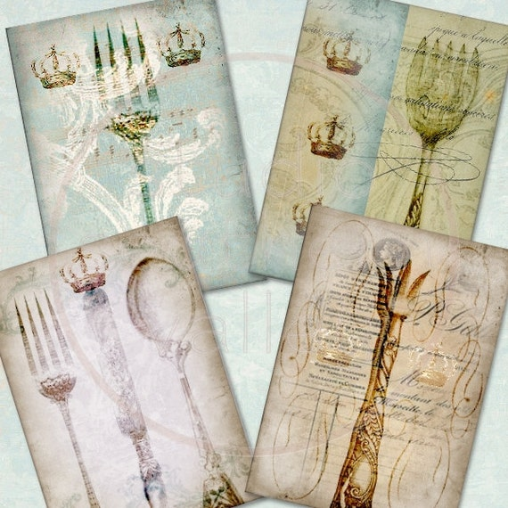 SILVERWARE - Digital Collage Antique Washed Silverware 2.5x3.5 inch ATC Background