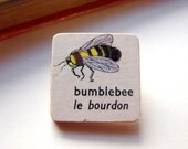 Tiny Wood Pin Brooch- Bumblebee- Le Bourdon- Decoupage Retro Vintage Bee French