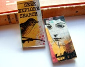 Little Wood Pin Brooch Set- Seek Explore Search Bird and Woman- Decoupage Retro Vintage Mod Collage Inspirational