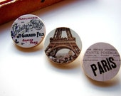Tiny Pin Brooch Set- Vintage France- French Perfume Paris and The Eiffel Tower- Paper and Wood Tile Decoupage Collage Art- Three