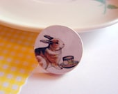 Bunny Rabbit and Teacup Pin - Small Paper and Wood Decoupage Brooch - Collage Vintage Victorian Whimsical Tea Party Cup