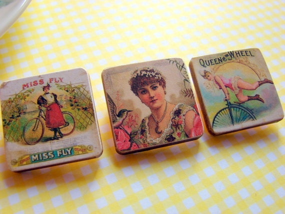 Tiny Paper and Wood Pin Brooch Set- Women on Vintage Cigar Labels - Decoupage Collage Victorian - Three