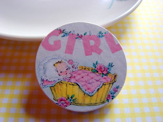 Baby Girl in a Basket Pin - Medium Paper and Wood Decoupage Brooch - Vintage Retro Newborn New Mother