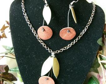 Very Cherry  -  Necklace and earring set with handcrafted leather cherries.
