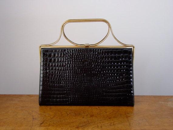 Joan Harris Black and Gold Faux Alligator Evening Handbag by Block Vegan Mid Century Modern
