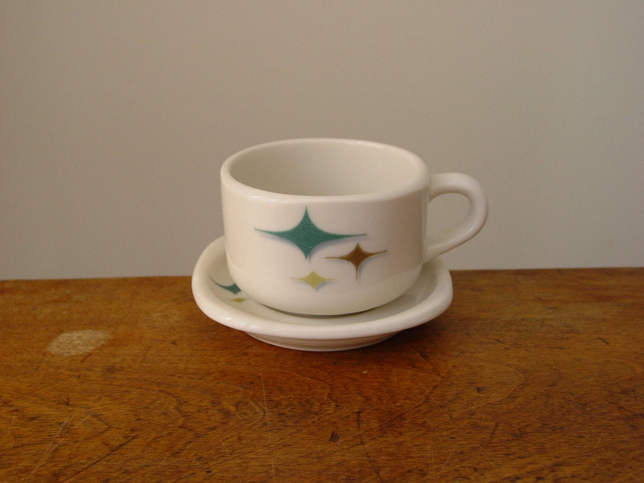 Mid Century Modern Coffee Cup And Saucer Atomic Stars