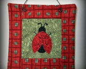 Lady bug Mini Quilt - Handmade Original Design