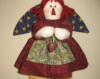 "Angel Soft Sculpture Doll - Raggedy Abbie - Original Design ~ 19"" Tall Sitting or Hanging Art Doll"