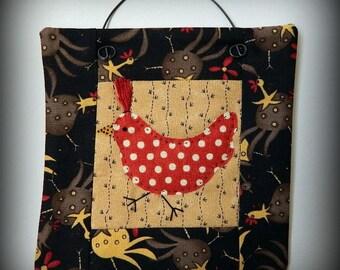 Chicken Mini Quilt - Handmade Original Design