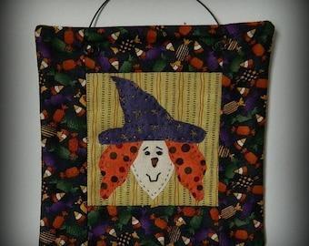 Halloween Witch Mini Quilt - 6 Inches Square ~  Original Handmade Design