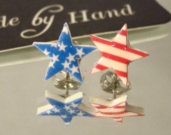 Stars and Stripes American Flag Stud earrings