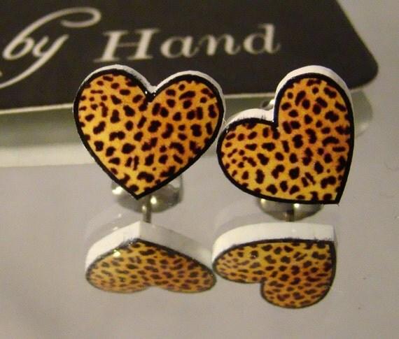 Leopard Print Hearts Stud Earrings