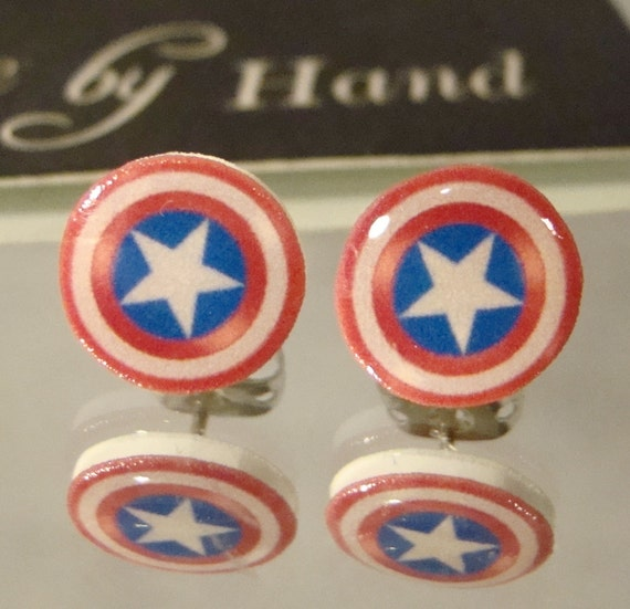 captain america earrings captain america shield stud earrings comic book jewelry 7322
