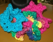 crochet scrunchies (3 in set) in turquoise, hot pink, and psychedelic USA cotton