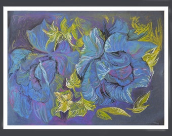 Original Pastel Art, Pastel Art, Floral Painting, Soft Pastel Painting, Purple Flower Art, Wall Art, Fine Art, Wall Art Flower, Original Art