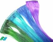Peacock Colors Set of Four Human Hair Hi-lite Clip Extensions