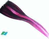 Black and hot pink layered Human Hair Hi-lite Clips kawaii scene