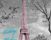 "Paris ""Eiffel Birthday"" Gift Tag (mix and match set of 8)"