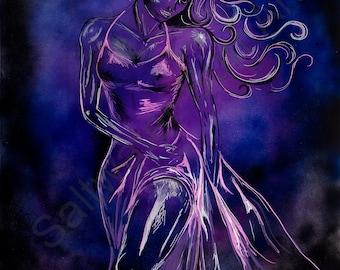 La Bella Noche Figure Art Woman Canvas painting  18 x 24 giclee print