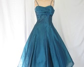 On Hold....1950's Party Dress Lagoon Blue green Sweetheart Bust Nipped Waist Crumb Catcher top Full Skirt Mad Men